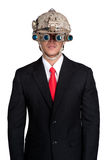 Business man war soldier helmet isolated. Business man war soldier helmet in isolated Royalty Free Stock Image