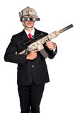 Business man war soldier helmet Machine Gun isolated. Business man war soldier helmet hold Machine Gun in isolated Royalty Free Stock Photos