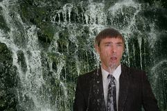 Business man waterfall Royalty Free Stock Photo