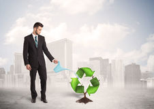 Business man watering green recycle sign tree on city background Stock Photos