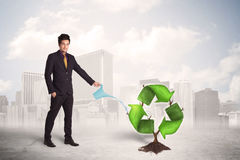 Business man watering green recycle sign tree on city background Stock Photo