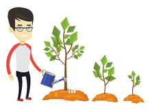 Business man watering trees vector illustration. Asian business man watering trees of three sizes. Business man watering trees with watering can. Business Stock Photo