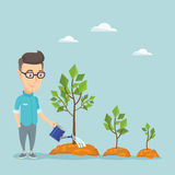 Business man watering trees vector illustration. Royalty Free Stock Images
