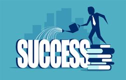Business man watering word success. stock illustration