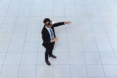 Business Man Wear Digital Glasses, Businessman Hold Hand Virtual Reality Royalty Free Stock Photography
