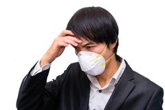A business man wear Hygienic mask. For protect PM2.5 Dust on White background stock images