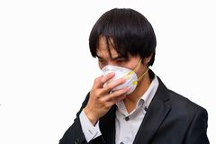 A business man wear Hygienic mask. For protect PM2.5 Dust on White background royalty free stock photography