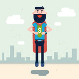 Business Man Wear Super Hero Suit With Dollar Sign Stock Images