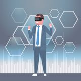 Business Man Wearing Modern 3d Glasses Virtual Reality Headset Concept. Flat Vector Illustration Royalty Free Stock Photos