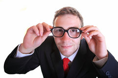 Business man wearing retro eyeglasses Stock Image