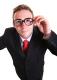 Business man wearing retro eyeglasses Stock Photos