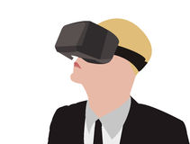 Business Man Wearing VR Glasses Vector Illustration Stock Photography