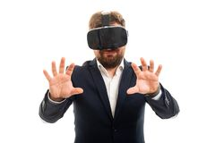Business man wearing vr goggles doing hands gesture. Portrait of business man wearing vr goggles doing hands gesture isolated on white background with copyspace royalty free stock photos