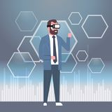 Business Man Wearing Vr Headset Modern 3d Glasses Virtual Reality Technology Concept. Flat Vector Illustration Stock Photo