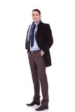 Business man wearing winter clothes royalty free stock photography