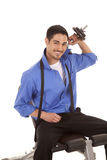 Business man weights over shoulder smile Stock Photo