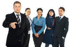 Business man welcome to join his team Stock Photo