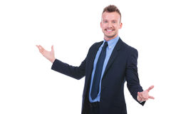 Business man welcomes you Stock Photo