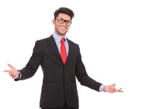 Business man welcoming you Stock Photography