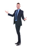 Business man welcoming you Royalty Free Stock Photos