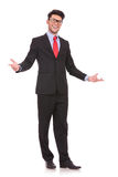 Business man wellcomes everybody Royalty Free Stock Photos