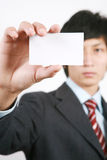 Business man with white board Stock Photos