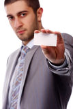Business man with white card Stock Photo