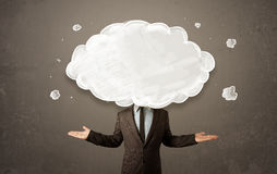 Business man with white cloud on his head concept Royalty Free Stock Photos