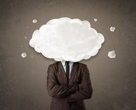 Business man with white cloud on his head concept Stock Images