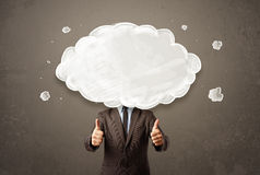 Business man with white cloud on his head concept Stock Photography
