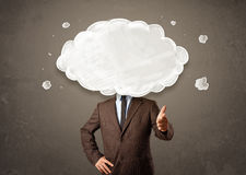 Business man with white cloud on his head concept Stock Photos