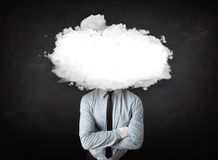 Business man with white cloud on his head concept Royalty Free Stock Image