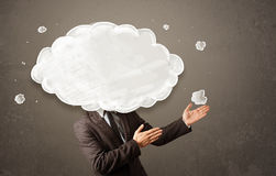 Business man with white cloud on his head concept Royalty Free Stock Images