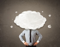Business man with white cloud on his head concept Stock Photo