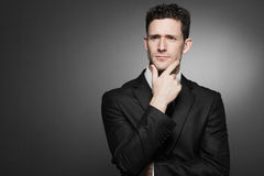 Business man in white shirt and black suit. Stock Image