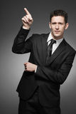 Business man in white shirt and black suit. Stock Photo