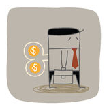 Business man wind up. Business man dollar wind up Royalty Free Stock Photography