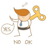 Business man wind-up saying yes no ok. Cartoon character of business man wind-up saying yes no OK Stock Photography