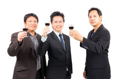 Business man with wine glass Stock Photos