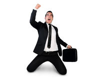 Business man winner hand up Royalty Free Stock Photos