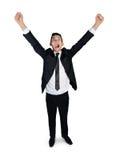 Business man winner. Business man winner hands up Stock Photos
