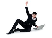 Business man winner with hands up Stock Image