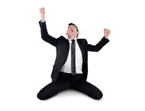 Business man winner with hands up Royalty Free Stock Photos