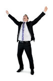 Business man winner hands up. Isolated business man winner hands up Stock Image