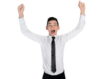Business man winner hands up Royalty Free Stock Photo