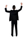 Business man winner hands up. Isolated business man winner hands up Royalty Free Stock Images