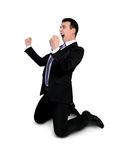 Business man winner hands up Royalty Free Stock Photography
