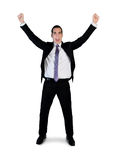 Business man winner hands up Stock Photography