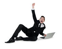 Business man winner hands up Stock Photo