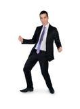 Business man winner. Isolated business man winner dance Stock Photos